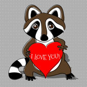 Raccoon in love. Vector illustration.