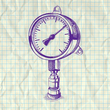 Sketch illustration of a manometer on notebook paper. stock vector