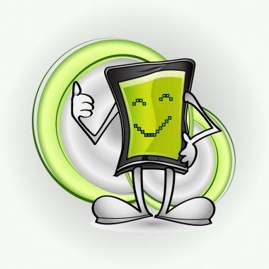 Smart phone character in vector stock vector