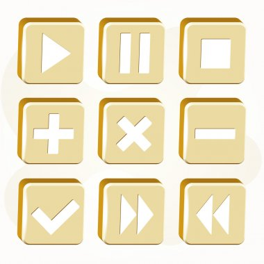 Vector set of golden buttons. stock vector
