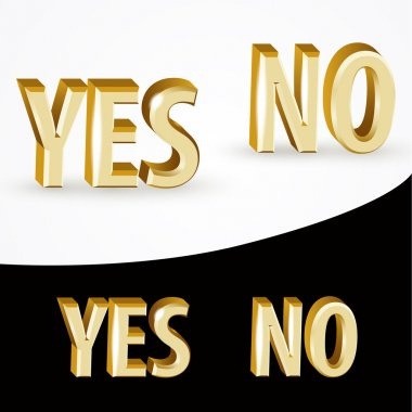 Vector gold Yes and No signs on black and white background. stock vector