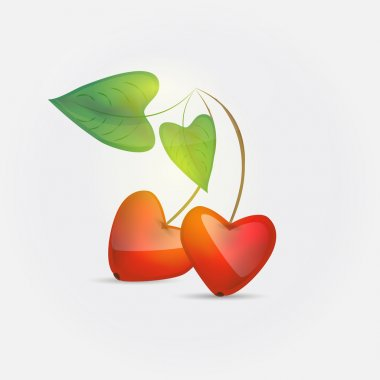 Cherry love. Vector illustration. stock vector