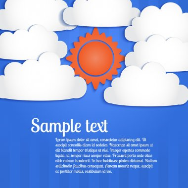 Vector background with clouds and sun in the sky. stock vector