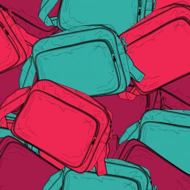 Vector background of a female bags. Vector illustration. stock vector