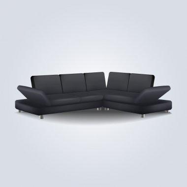 Black sofa. Vector illustration. stock vector