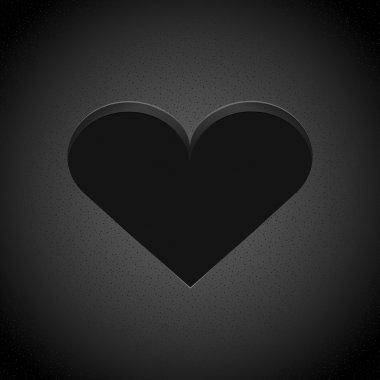 Vector black heart. Vector illustration.