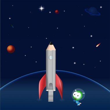 Pencil rocket. Vector illustration. stock vector