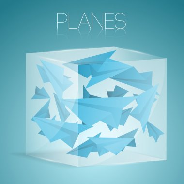 Paper airplanes in glass box. Vector illustration. stock vector