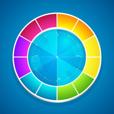 Vector illustration of a color wheel. stock vector
