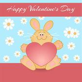Vektor-Grußkarte mit Kaninchen zum Valentinstag.