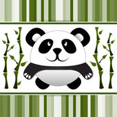 Little panda and bamboo. Vector illustration.