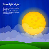 Vector background with clouds and big moon in the sky.