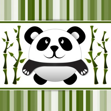 Little panda and bamboo. Vector illustration. stock vector