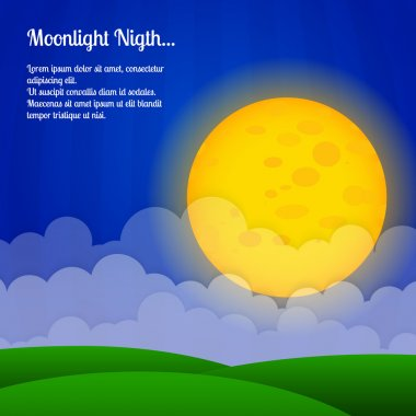 Vector background with clouds and big moon in the sky. stock vector
