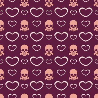 Vector background with hearts and skulls. stock vector
