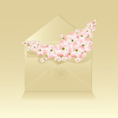 Spring flowers in an envelope - vector illustration stock vector