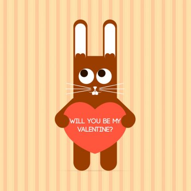 Vector cute rabbit with Valentine card. stock vector