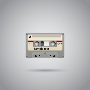Old-school cassette tape record with copyspace. Vector stock vector