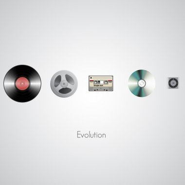 Sound technology evolution. Vector illustration. stock vector