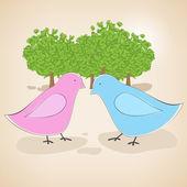 Vektorillustration von verliebten Vögeln.
