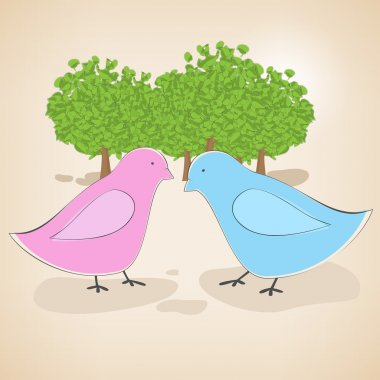 Vector illustration of birds couple in love. stock vector