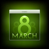 March 8 green button.