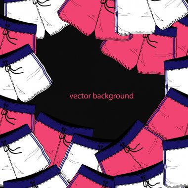 Vector background with different shorts. stock vector