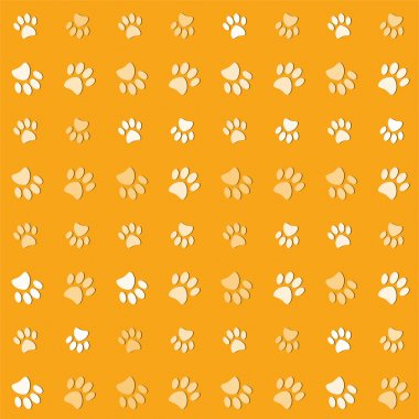 Illustration animals paws print on a yelow background stock vector