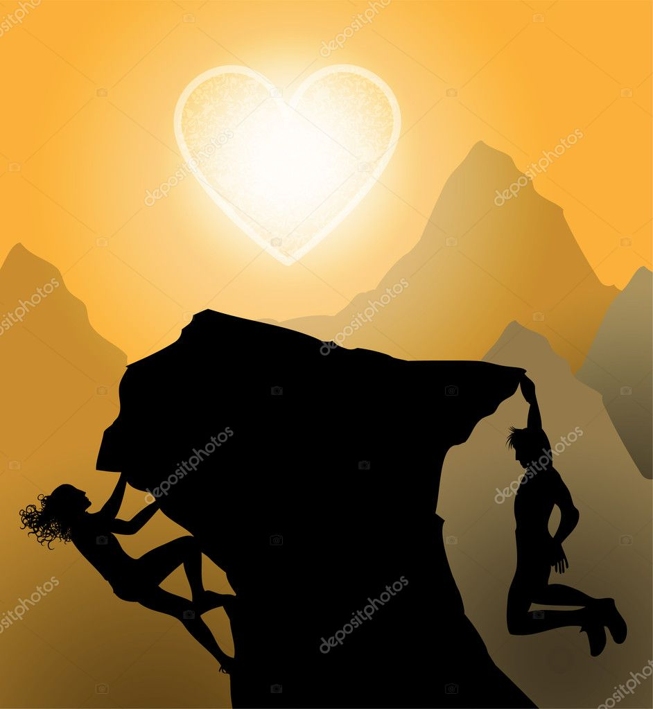 Sunset climbers. Couple climp up to their love stock vector