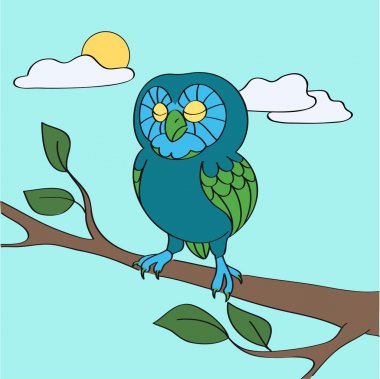 Blue owl in the daytime - vector illustration stock vector