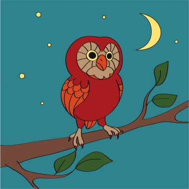 A vector cartoon night owl - vector illustration stock vector