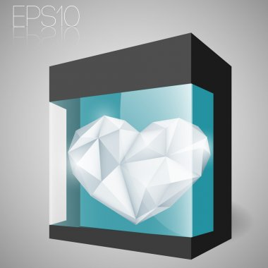 Jewelry heart in glass box. Vector illustration. stock vector