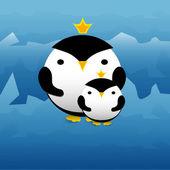 Vektoros illusztráció aranyos pingvinek-koronák.