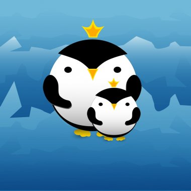 Vector illustration of cute penguins withcrowns. stock vector
