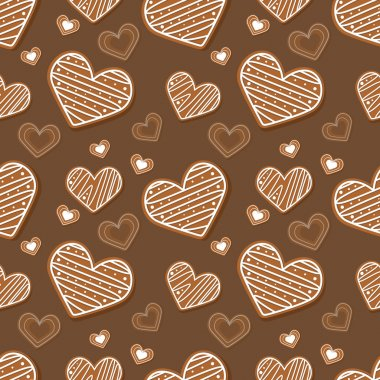 Vector brown background with hearts. stock vector