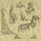 Vector-vintage elemeket a gyűrött papír.