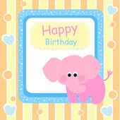 Boldog születésnapot kártya-val rózsaszín elefánt - vektor-illusztráció