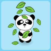 Illustration of cute cartoon panda with falling leaves