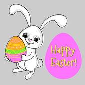 niedliches Kaninchen mit Ei. Grußkarte für Ostern.