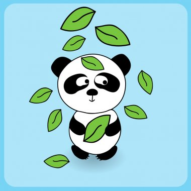 Illustration of cute cartoon panda with falling leaves stock vector