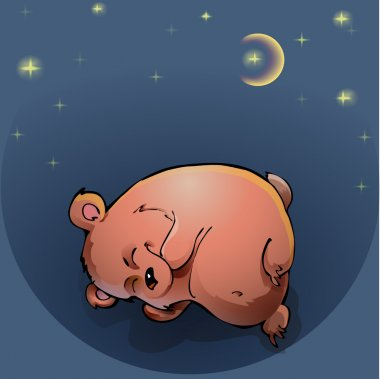 Teddy bear sleeping under the night sky stock vector