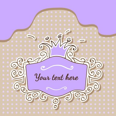 Vector purple frame with crown. stock vector