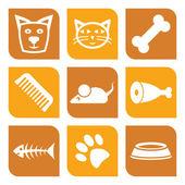 kolekce domácích ikon - vektorové ilustrace psů a koček