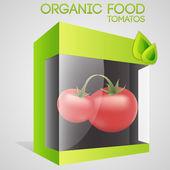 vektorové ilustrace rajčat v balení. koncept ekologické potraviny.