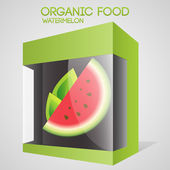 Vector illustration of watermelon in packaged. Organic food concept.