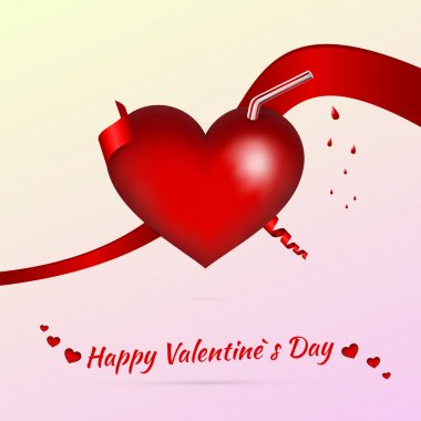 Vector Valentine background with cocktail stock vector
