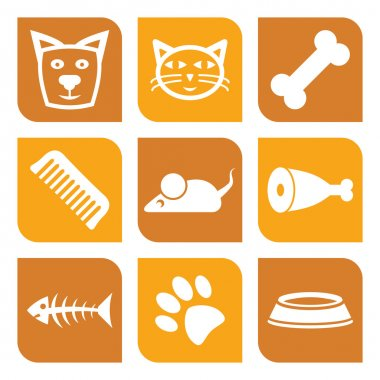Collection of pet icons - vector illustration dogs and cats stock vector