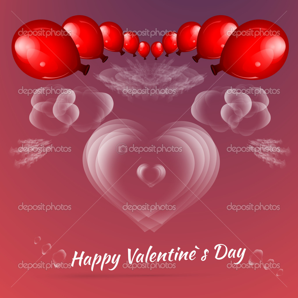 Valentine's background with balloons stock vector