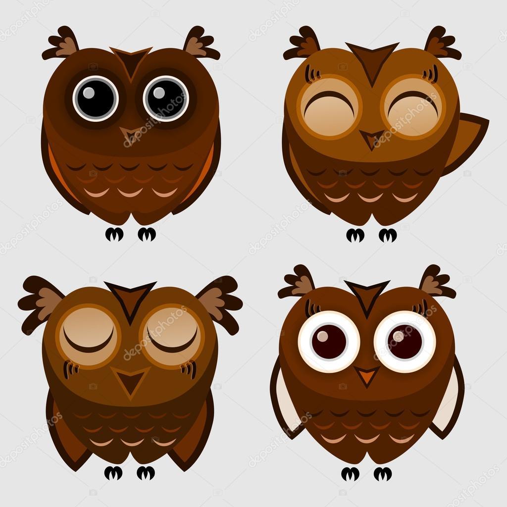 Vector set of cartoon owls. stock vector