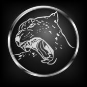 Vector button with leopard.